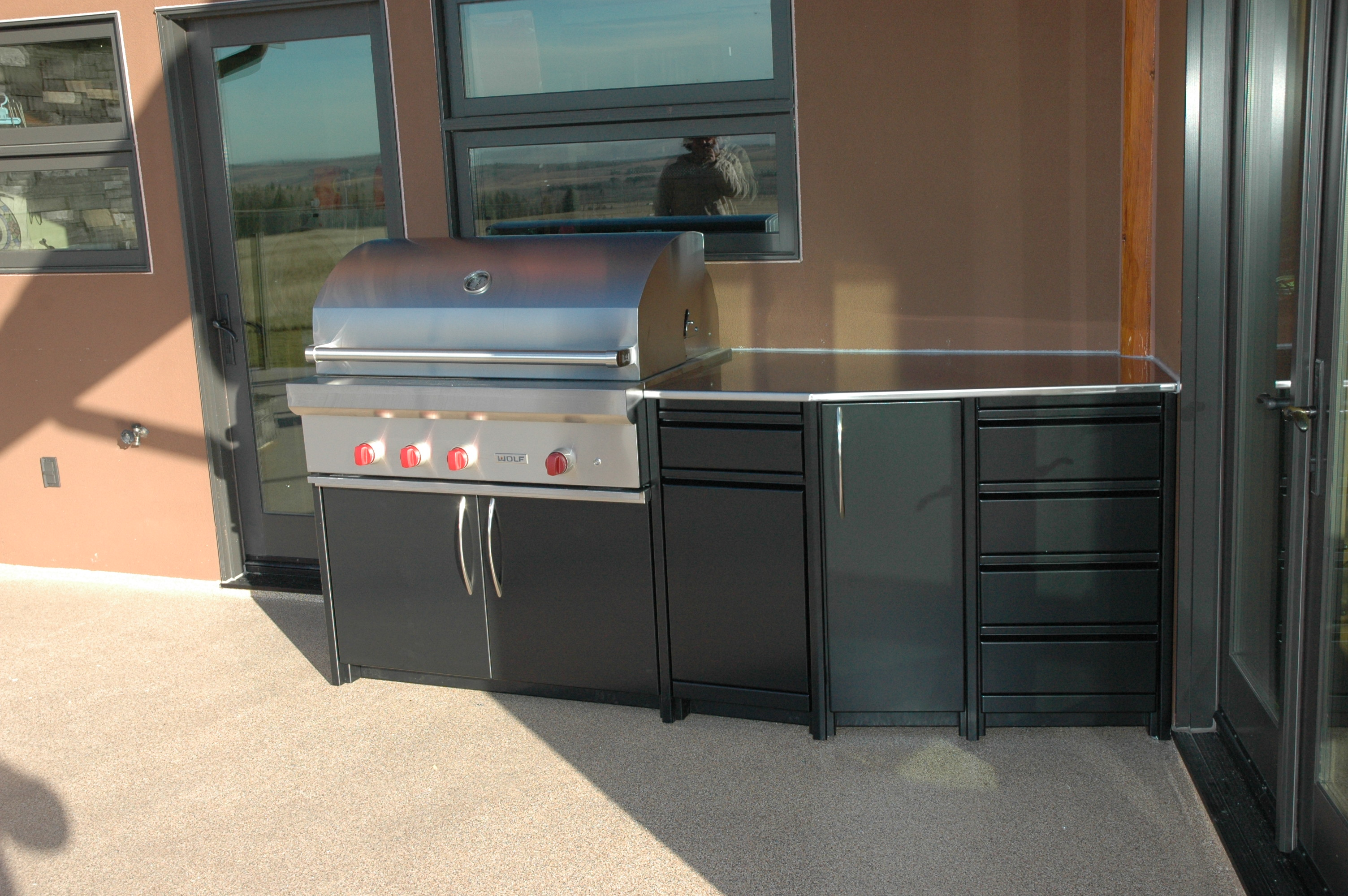 We Built These Custom Cabinets Around A Beautiful Wolf Barbecue.